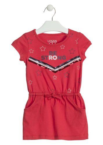 b6a1f15402 Vestido de manga corta de color rojo con lentejuelas LOSAN
