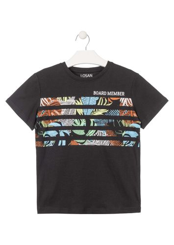 Camiseta de color negro con estampado tropical LOSAN