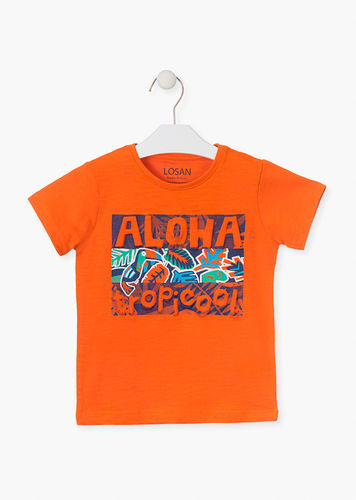 Camiseta con estampado tropical de color naranja LOSAN